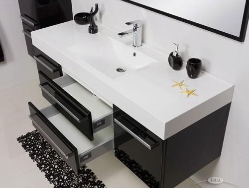 Masywnie Szafka łazienkowa 140/50 cm czarny połysk + umywalka [FOKUS] Meble KJ42