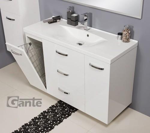Niewiarygodnie Szafka pod umywalkę 120/48 cm z koszem - biały połysk + umywalka PN35