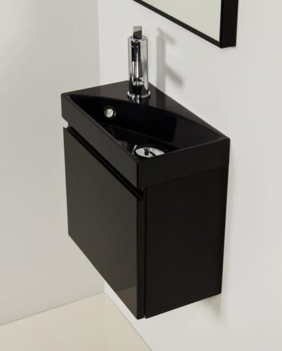 Cudowna Szafka pod umywalkę 40/22 cm + umywalka Ruth czarna [CLER] Meble ER94
