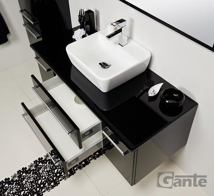 Zaawansowane Szafka pod umywalkę czarny połysk 120/50 cm + umywalka Veno [FOKUS AW57