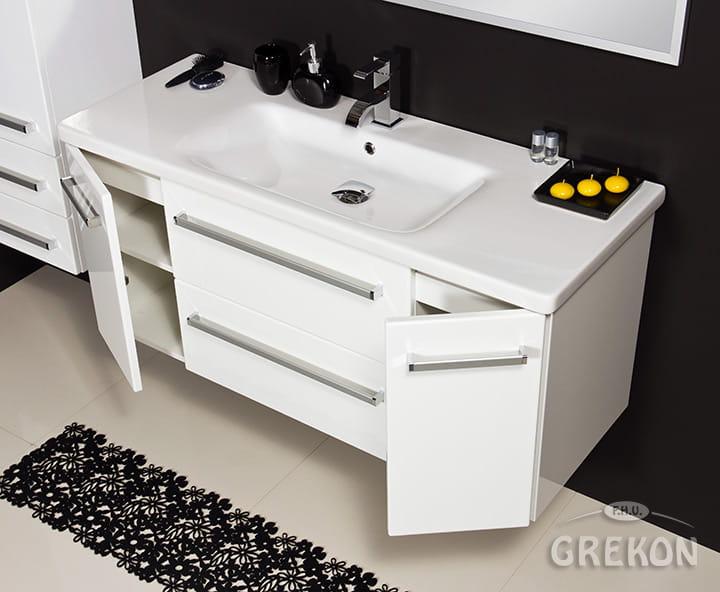 Szafka łazienkowa Pod Umywalkę Fokus 12045 Cm Biały Połysk Umywalka